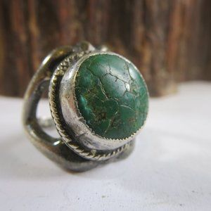 Sterling Natural Green Navajo Turquoise Ring